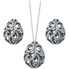 Fei Liu Diamond 18 Karat Black Gold Stud Earrings Pendant Necklace Set