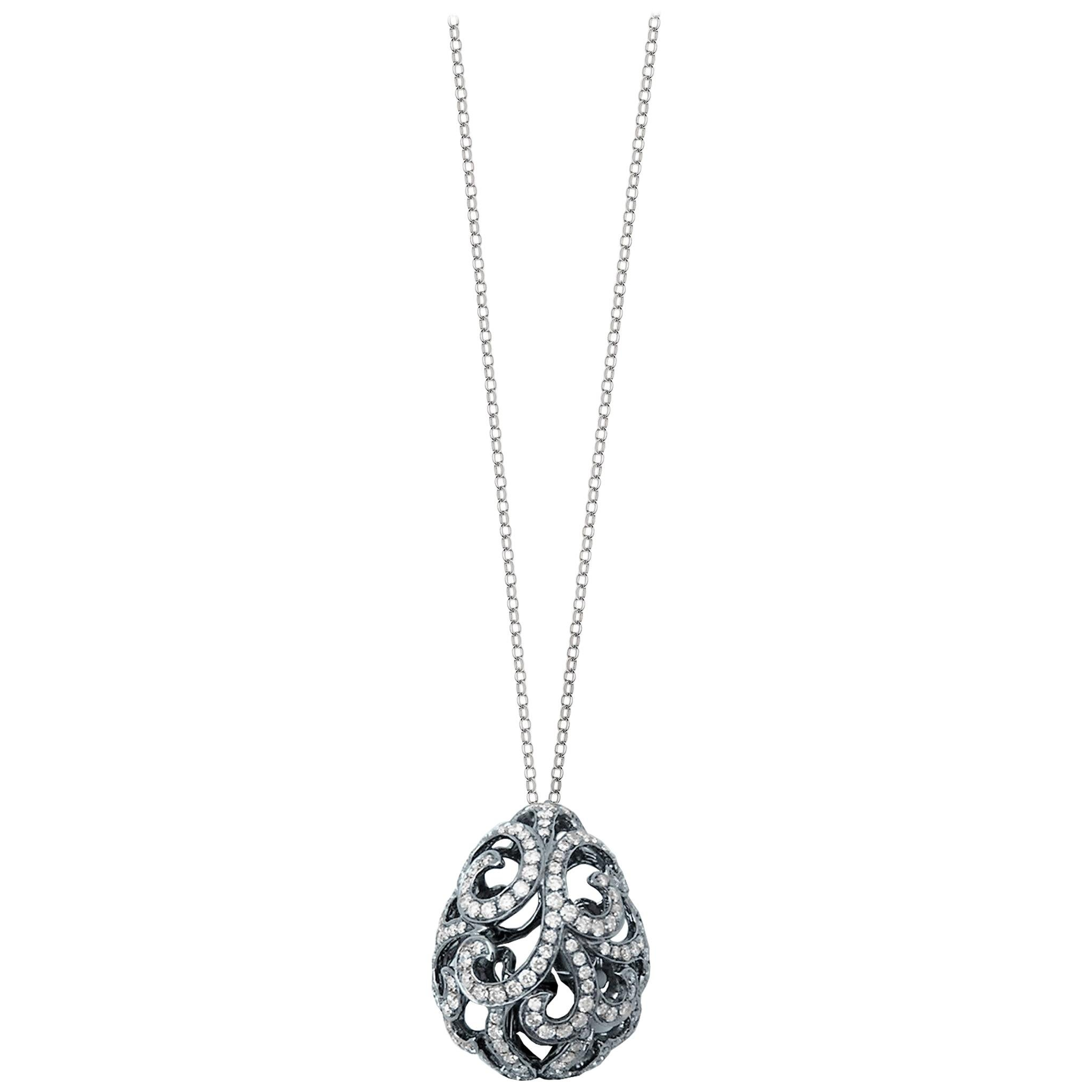 Fei Liu Diamond 18 Karat Black Gold Filigree Egg Pendant Necklace