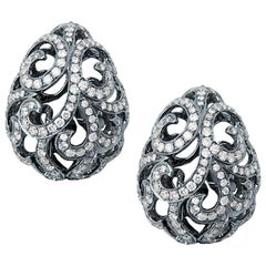 Fei Liu Diamond 18 Karat Black Gold Egg Stud Earrings