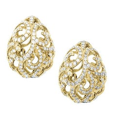 Fei Liu Diamond Filigree Egg Yellow Gold Earrings