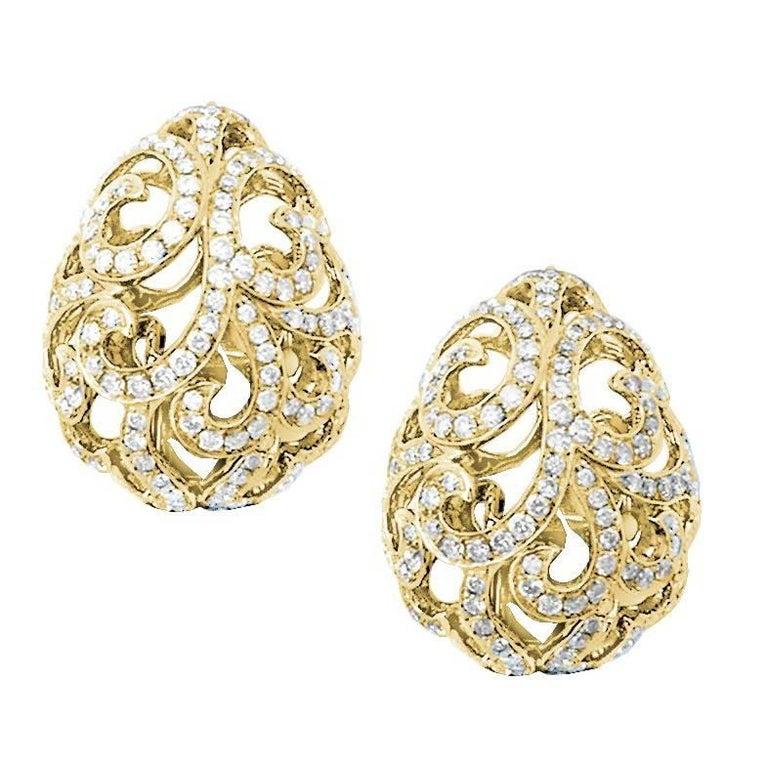 Fei Liu Diamond Filigree Egg 18 Karat Yellow Gold Stud Earrings