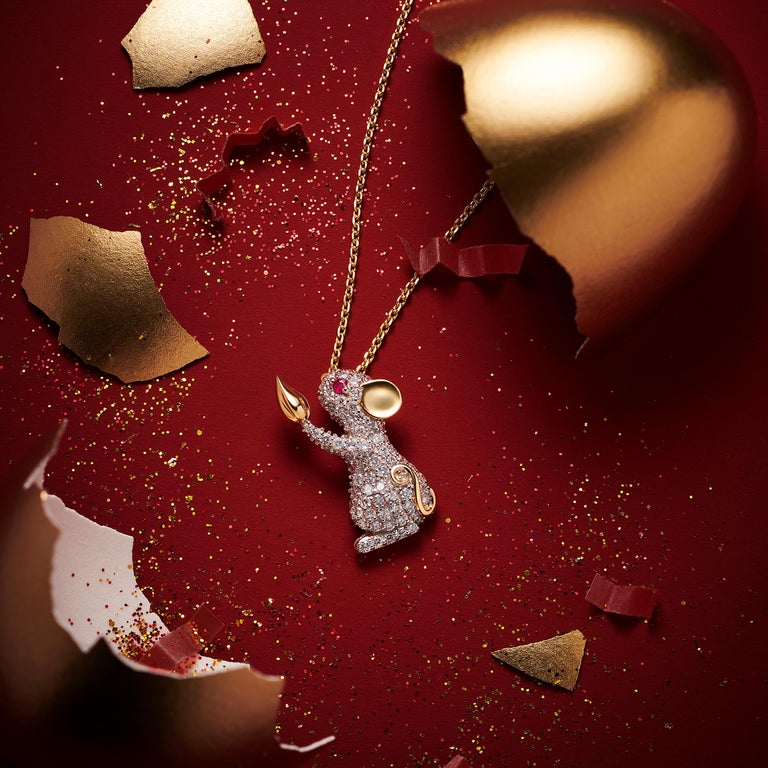 Contemporary Fei Liu Diamond Ruby Yellow Diamond Pendant Necklace For Sale