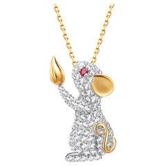 Fei Liu Diamond Ruby 18 Karat Yellow Gold Mouse Pendant Necklace