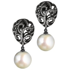 Fei Liu Diamond Small Filigree Egg 18 Karat White Gold Earrings with Pearl Drop