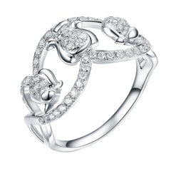 Fei Liu Diamond 9 Karat White Gold Lily of the Valley Cocktail Ring