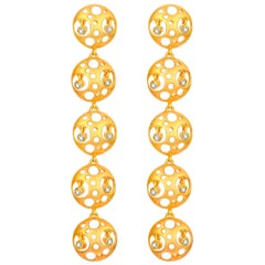Fei Liu Diamond Yellow Gold Statement Long Drop Earrings