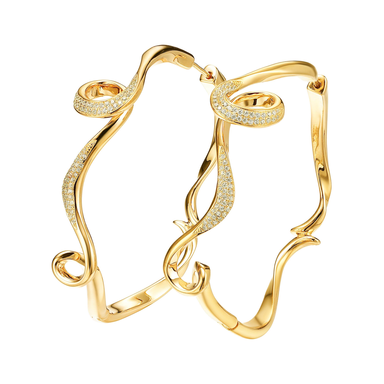 Fei Liu Diamond Yellow Gold-Plated Sterling Silver Hoop Earrings
