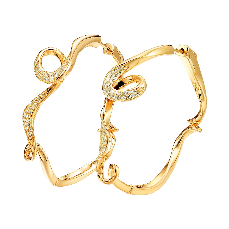 Fei Liu Diamond Yellow Gold Plated Sterling Silver Hoop Earrings