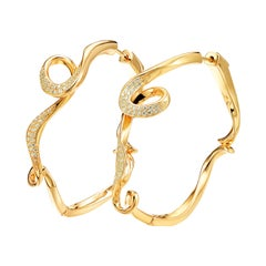 Fei Liu Diamond Yellow Gold Plated Sterling Silver Hoop Earrings