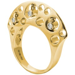Fei Liu Diamond 18 Karat Yellow Gold Cocktail Ring