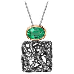 Fei Liu Emerald Yellow Gold Diamond Black Gold Necklace