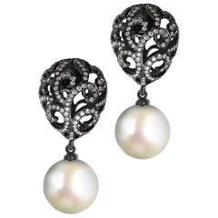 Fei Liu Filigree Egg Diamond 18 Karat Black Gold Pearl Drop Earrings