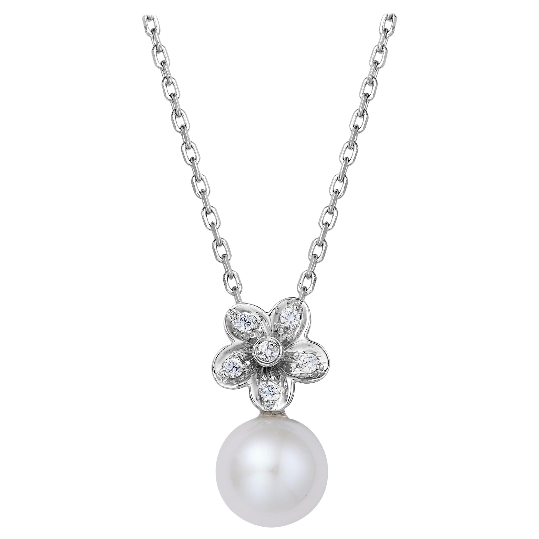 Fei Liu Freshwater Diamond 18 Karat White Gold Flower Pendant Necklace
