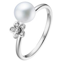 Fei Liu Freshwater Pearl Diamond 18 Karat White Gold Flower Open Ring