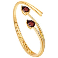 Fei Liu Garnet Cubic Zirconia Gold Plated Sterling Silver Bangle Bracelet