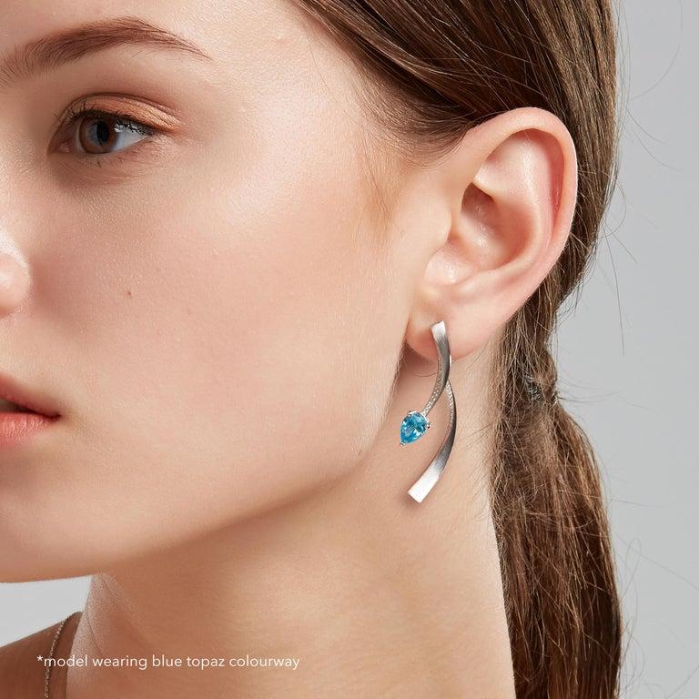 Pear Cut Fei Liu Garnet Cubic Zirconia Sterling Silver Two-Piece Drop Earrings For Sale