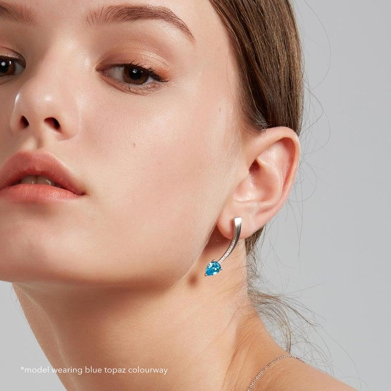 Fei Liu Garnet Cubic Zirconia Sterling Silver Two-Piece Drop Earrings In New Condition For Sale In Birmingham, GB