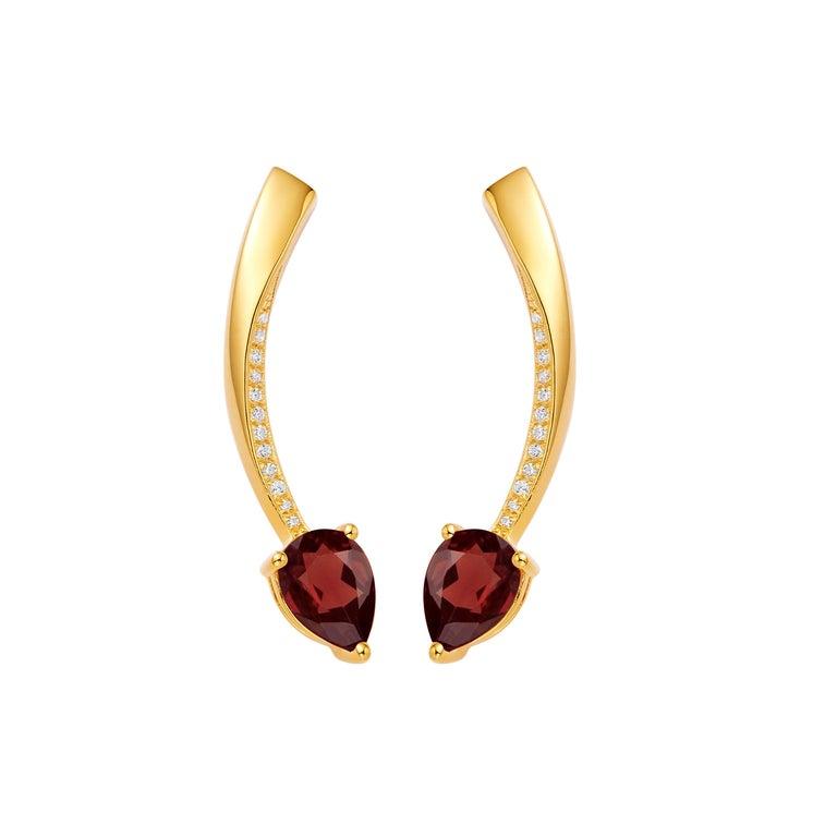 Women's or Men's Fei Liu Garnet Cubic Zirconia Sterling Silver Two-Piece Drop Earrings For Sale