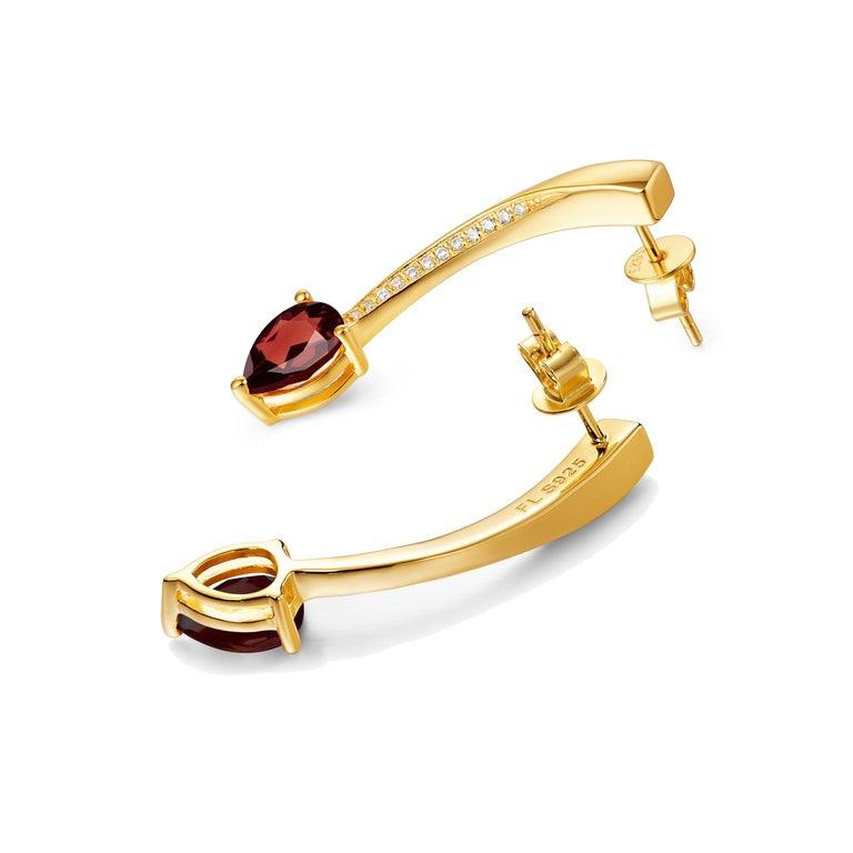 Fei Liu Garnet Cubic Zirconia Sterling Silver Two-Piece Drop Earrings For Sale 1