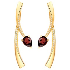 Fei Liu Garnet Cubic Zirconia Sterling Silver Two-Piece Drop Earrings