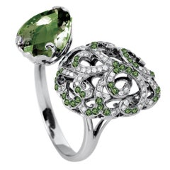 Fei Liu Green Amethyst Green Garnet 18 Karat Diamond Black Gold Open Ring