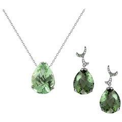 Fei Liu 18 Karat White Gold Green Amethyst Small Pear Drop Earrings Necklace Set