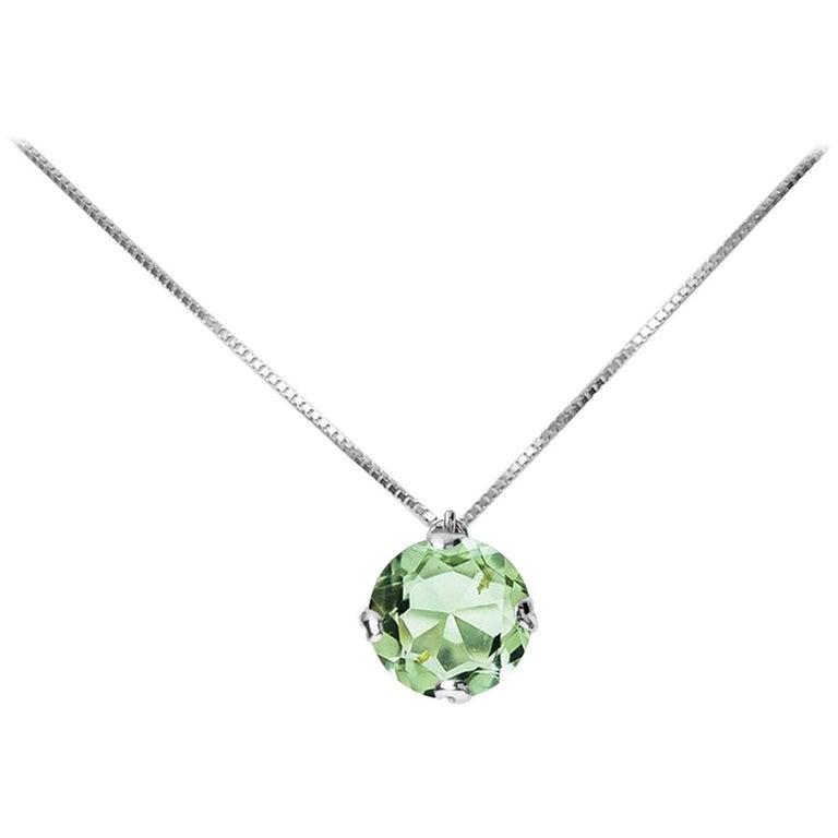 Fei Liu Green Amethyst 18 Karat Black Gold Pendant Necklace For Sale