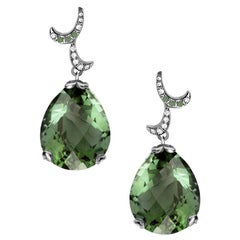 Fei Liu Green Amethyst Diamond 18 Karat Black Gold Filigree Egg Drop Earrings