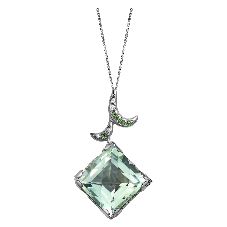 Fei Liu Green Amethyst Green Garnet 18 Karat White Gold Pendant Necklace