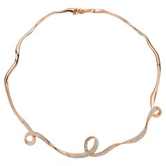 Fei Liu Hearts and Arrows Cubic Zirconia Rose Gold Plate Sterling Silver Choker