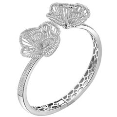 Fei Liu Hearts and Arrows Cubic Zirconia Sterling Silver Bangle Bracelet