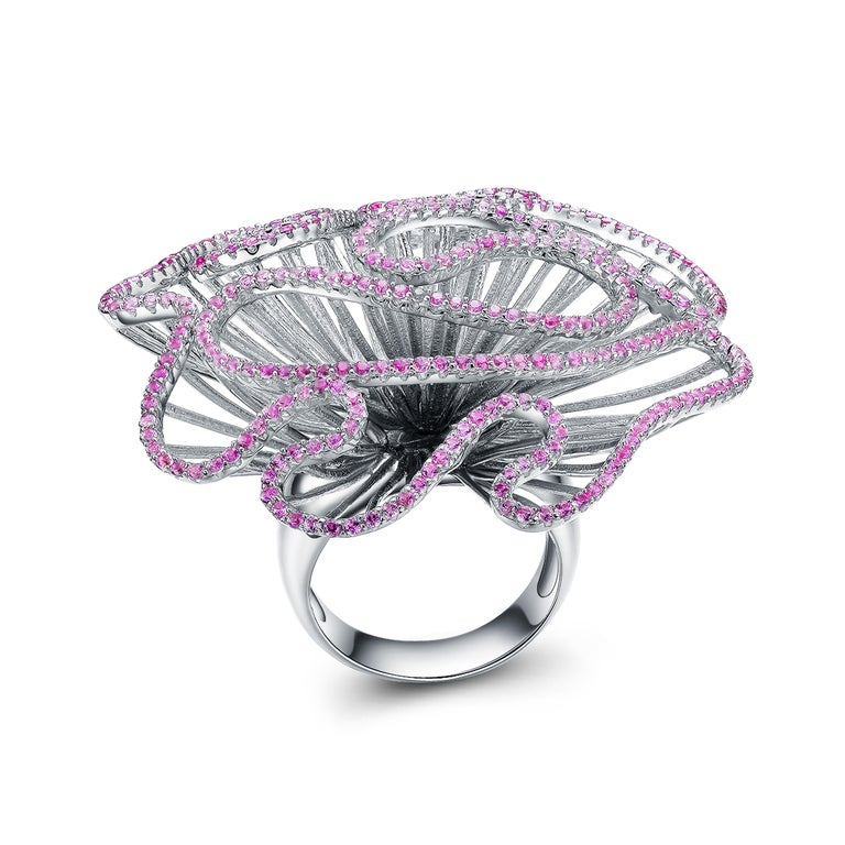 Contemporary Fei Liu Hearts and Arrows Pink Cubic Zirconia Sterling Silver Cocktail Ring For Sale