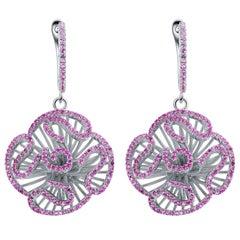 Fei Liu Hearts and Arrows Pink Cubic Zirconia Sterling Silver Drop Earrings