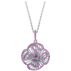 Fei Liu Hearts and Arrows Pink Cubic Zirconia Sterling Silver Pendant Necklace