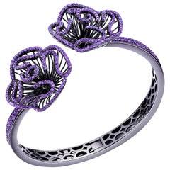Fei Liu Hearts and Arrows Purple Cubic Zirconia Oxidised Silver Bangle Bracelet