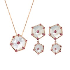 Fei Liu Hexagon Mother of Pearl, Pink Sapphires 18 Karat Rose Gold Set