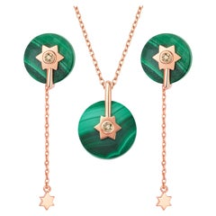 Fei Liu Malachite Diamond Rose Gold Necklace Earrings