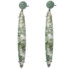 Fei Liu Moss Agate Tsavorite Black Gold Long Drop Earrings