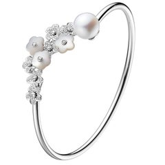Fei Liu Mother Of Pearl,Diamond-Set 18 Karat White Gold Flower Bangle Bracelet