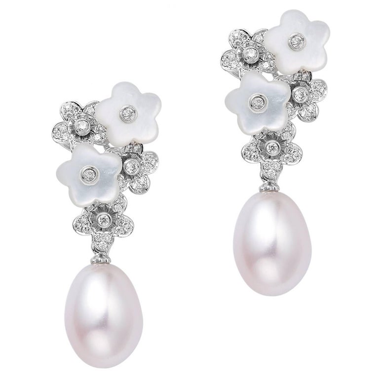 Fei Liu Mother Of Pearl And Diamond-Set Flower White Gold Earrings Pearl Drop