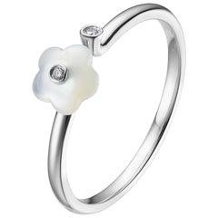 Fei Liu Mother of Pearl Diamond 18 Karat White Gold Flower Open Ring