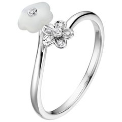 Fei Liu Mother of Pearl Diamond 18 Karat White Gold Flower Open Ring