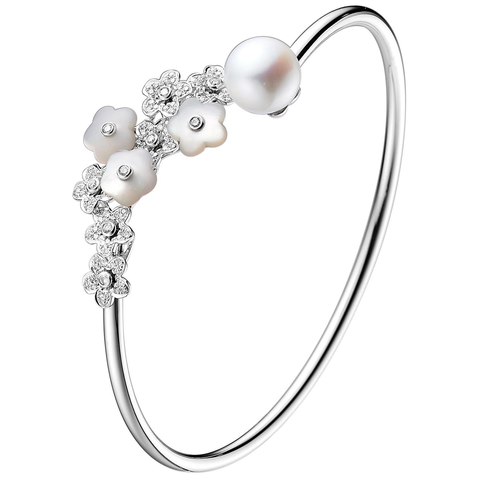 Fei Liu Mother of Pearl Diamond Pearl 18 Karat White Gold Bangle Bracelet