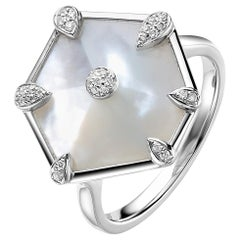 Fei Liu Mother of Pearl Diamond White Gold Ring