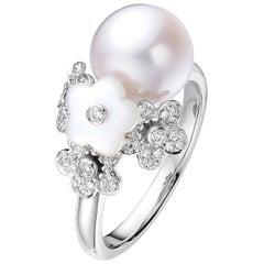 Fei Liu Mother of Pearl Freshwater Diamond 18 Karat White Gold Cocktail Ring
