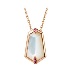 Fei Liu Mother of Pearl Sapphire Rose Gold Necklace