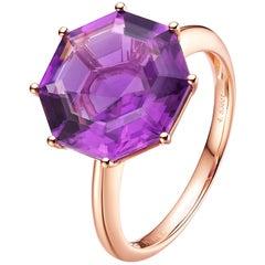 Fei Liu Octagon Cut Purple Amethyst 18 Karat Rose Gold Cocktail Ring