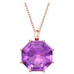 Fei Liu Octagon Purple Amethyst 18 Karat Rose Gold Pendant Necklace