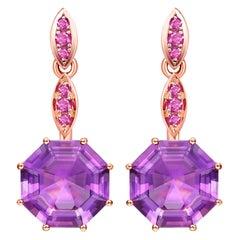 Fei Liu Octagon Purple Amethyst Pink Sapphire 18 Karat Rose Gold Drop Earrings