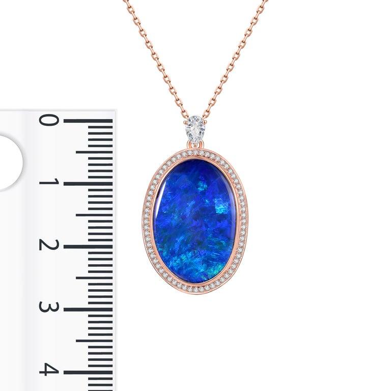 Contemporary Fei Liu Opal Diamond 18 Karat Rose Gold Pendant Necklace For Sale